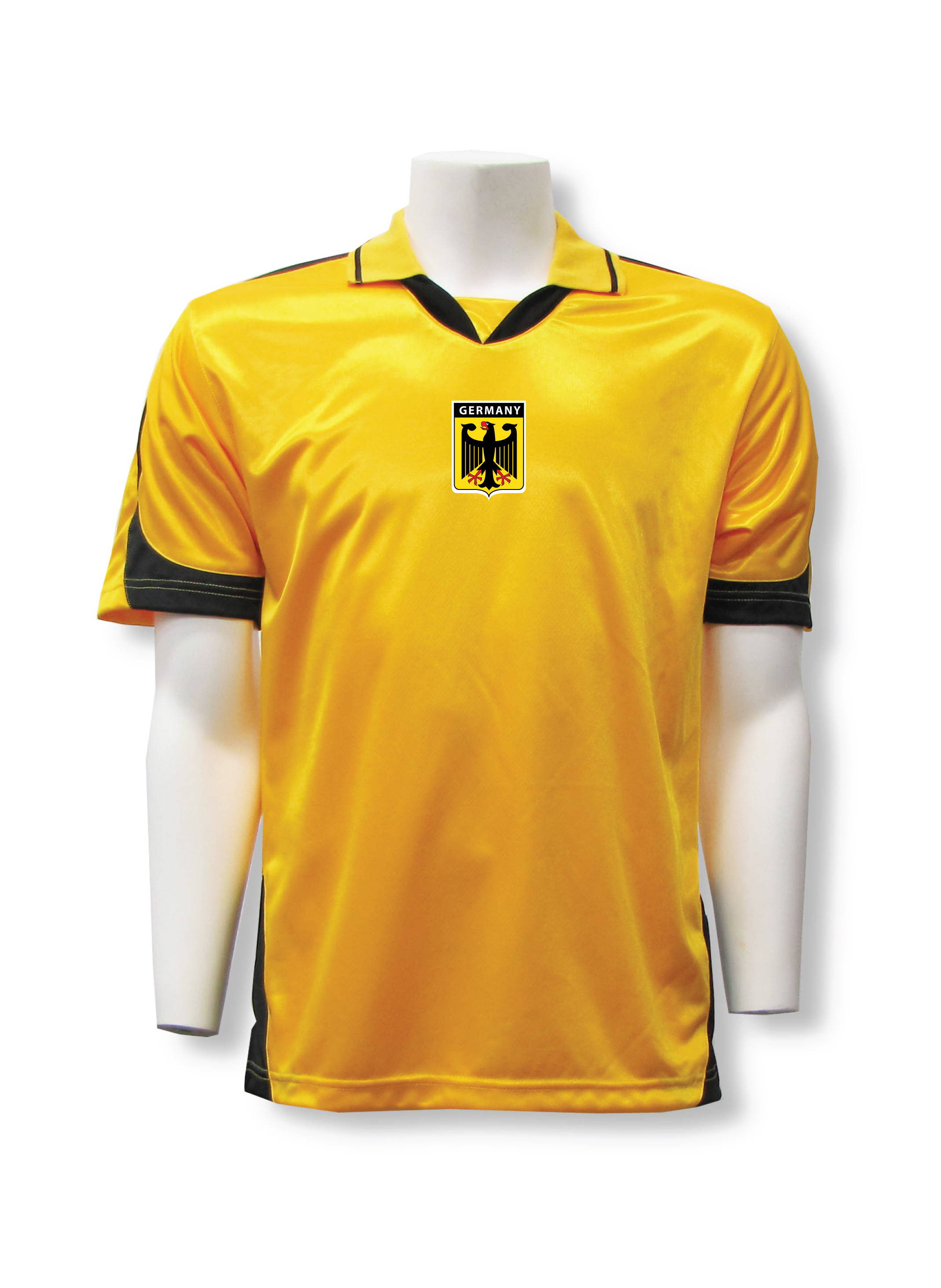 Germany badge soccer jersey in gold/black by Code Four Athletics