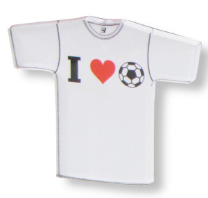 I Love Soccer tee magnet by Code Four Athletics