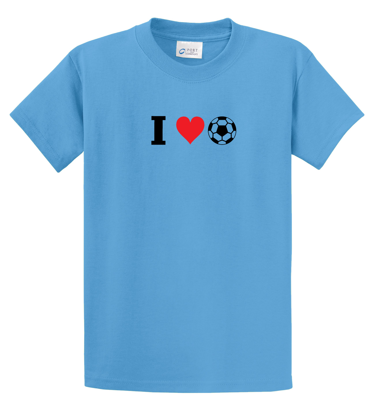 I Love soccer tee in aqua