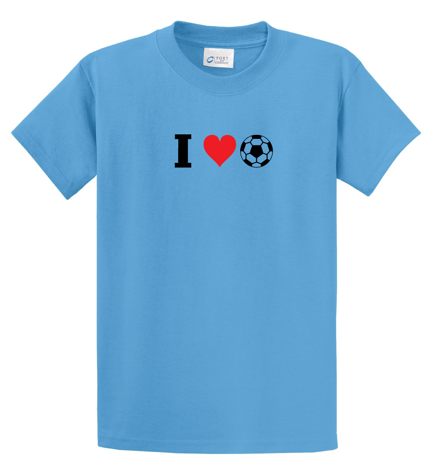I Love Soccer t-shirt in aquatic blue by Code Four Athletics