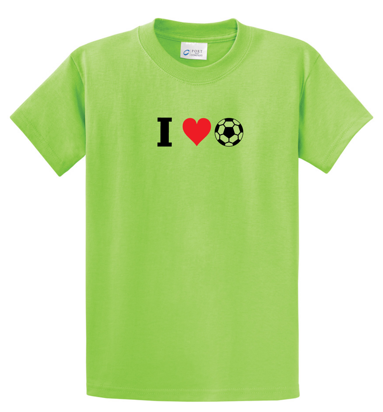 I Love Soccer tee in lime