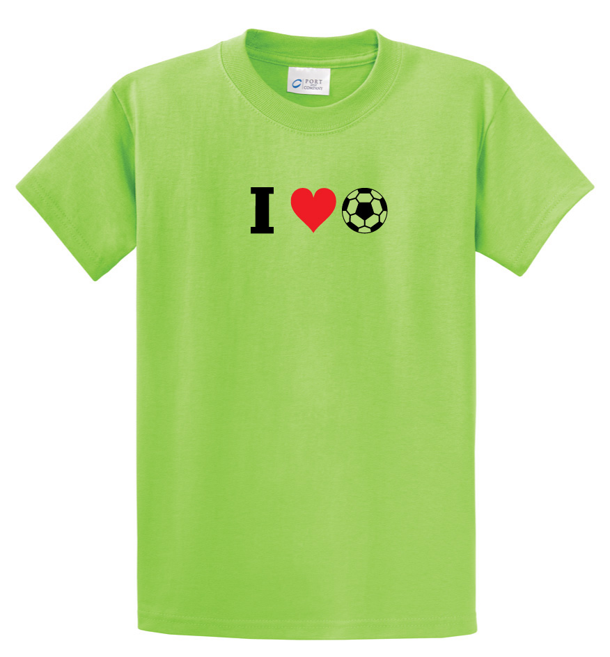 I Love Soccer tshirt in lime by Code Four Athletics