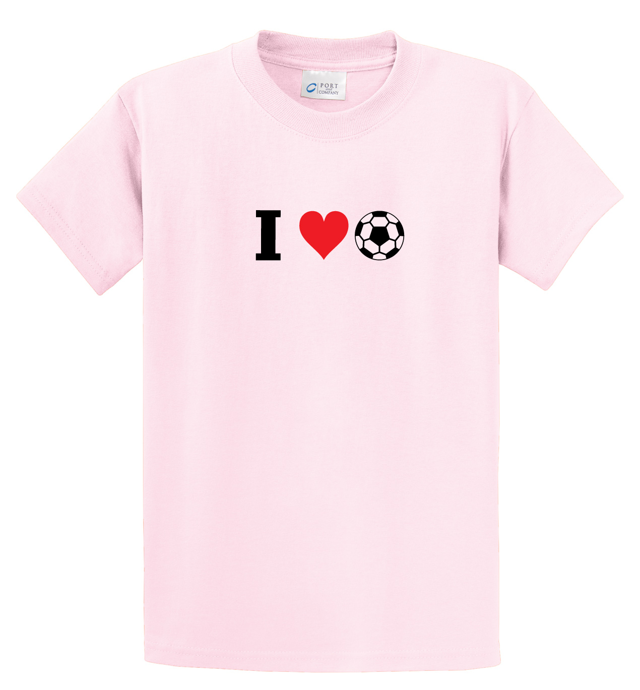 I Love Soccer tee in pink