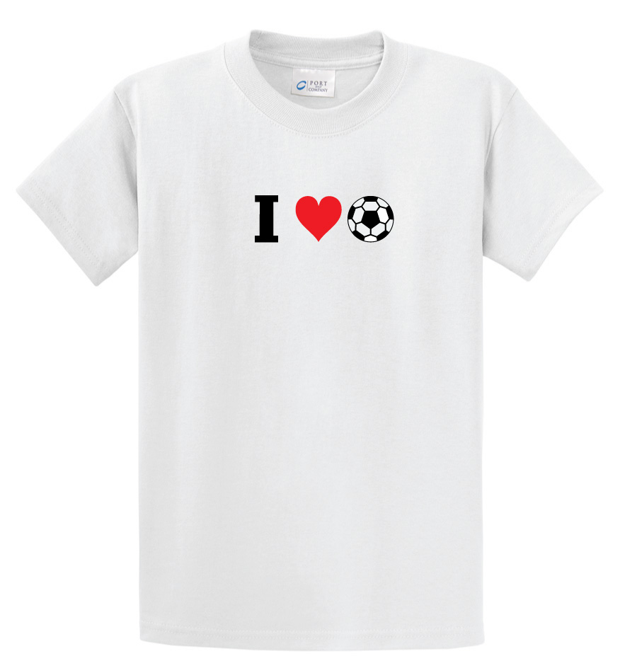 I Love Soccer tshirt in white by Code Four Athletics
