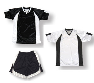 Imperial soccer uniform kit in black / white by Code Four Athletics