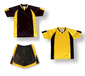 Imperial soccer uniform kit in black / gold by Code Four Athletics