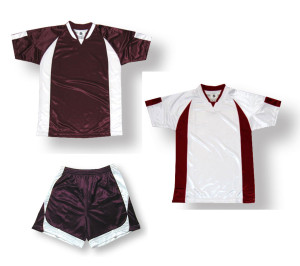 Imperial soccer uniform kit in maroon / white by Code Four Athletics