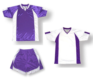 Imperial soccer uniform kit in purple / white by Code Four Athletics