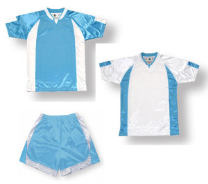 Imperial soccer uniform kit in sky / white by Code Four Athletics