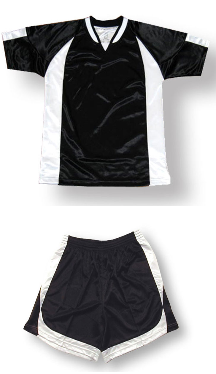 Imperial soccer jersey and shorts set in black/white by Code Four Athletics