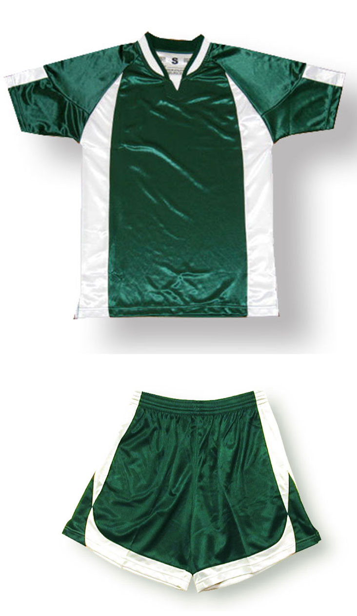 Imperial soccer jersey and shorts set in forest/white by Code Four Athletics