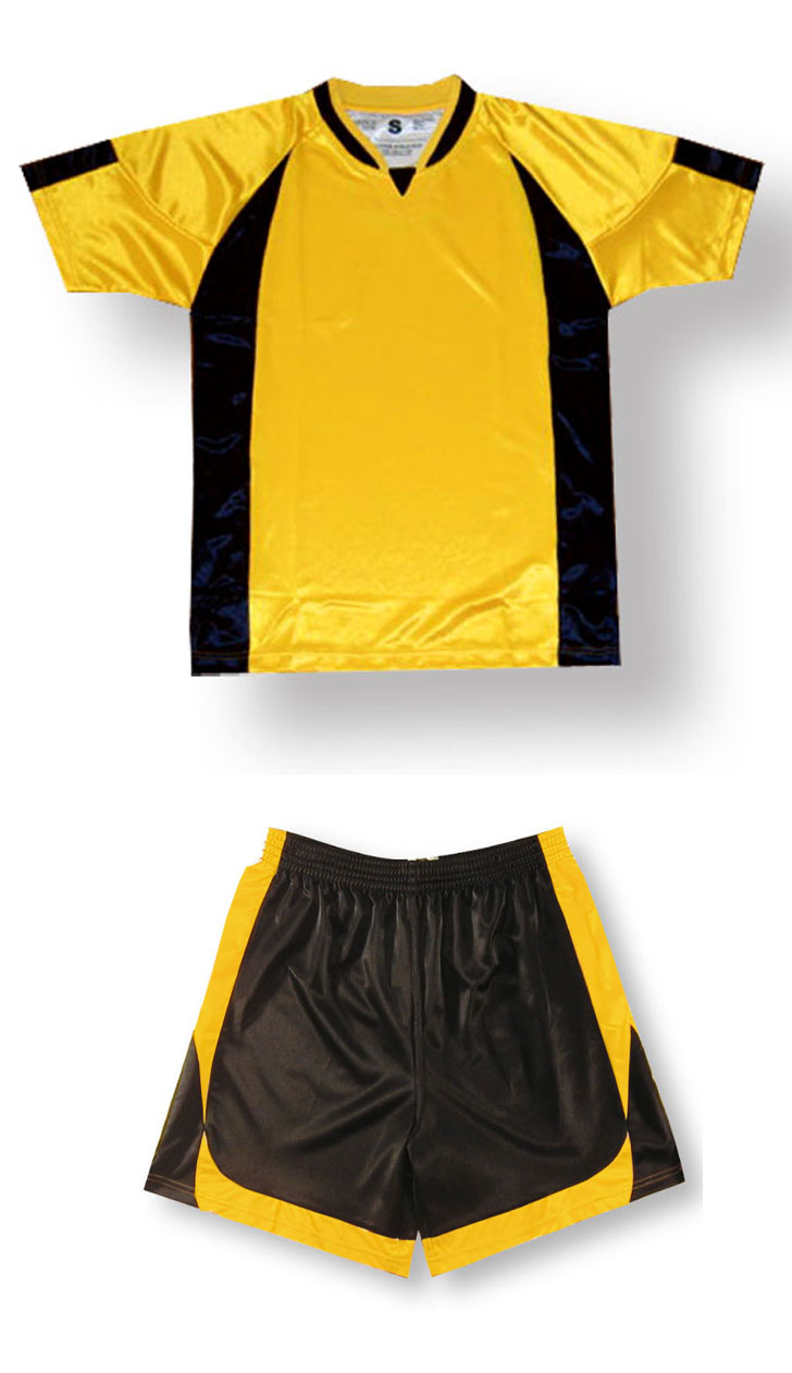 Imperial soccer uniform kit in gold/black by Code Four Athletics