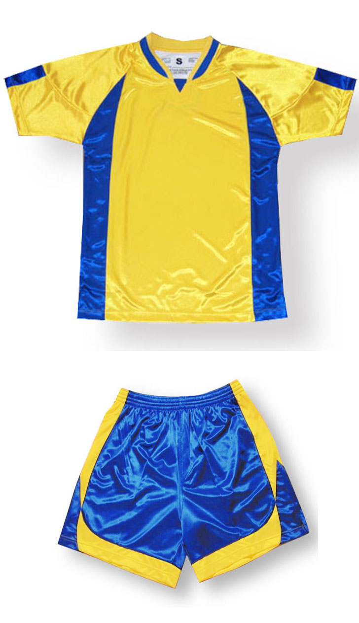 Imperial soccer jersey and shorts set in gold/royal