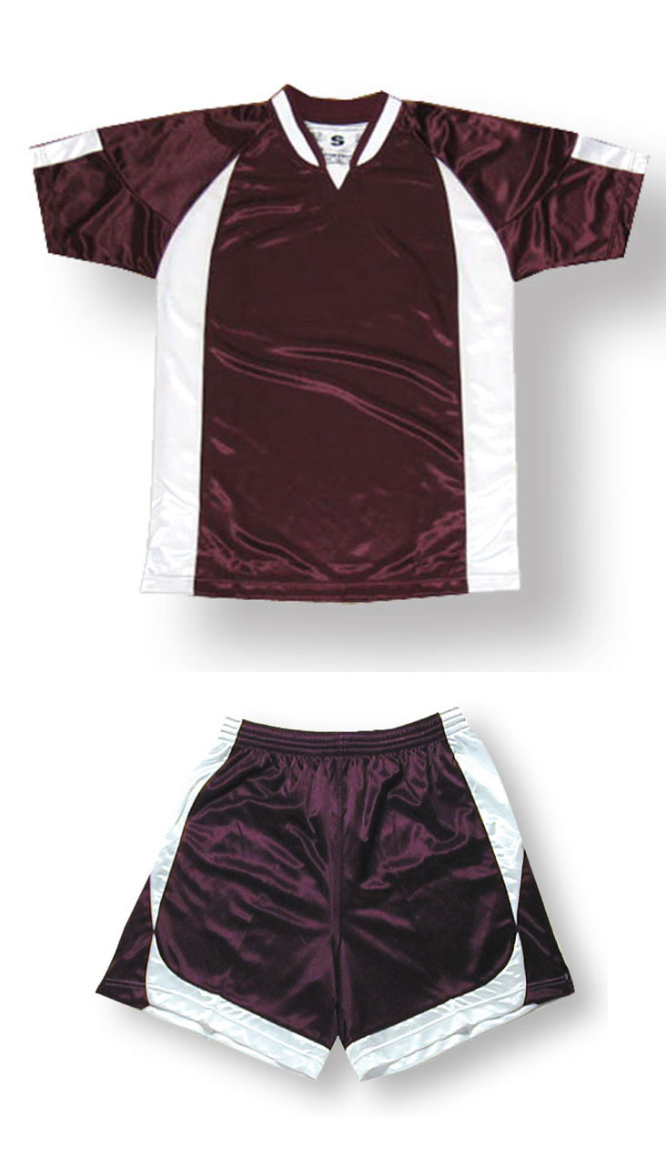 Imperial soccer jersey and shorts set in maroon/white by Code Four Athletics