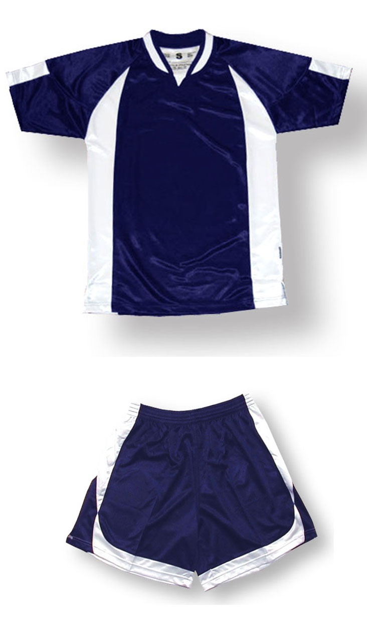 Imperial soccer jersey and shorts set in navy/white by Code Four Athletics