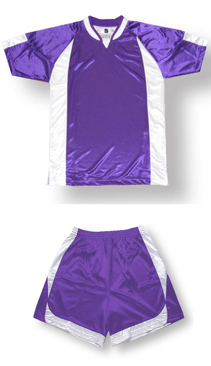 Imperial soccer jersey and shorts set in purple/white by Code Four Athletics