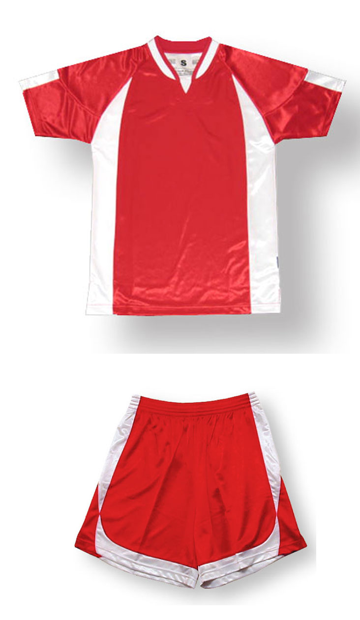 Imperial soccer jersey shorts set in red/white by Code Four Athletics