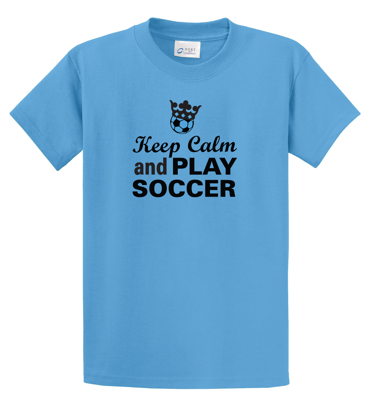 Keep Calm and play soccer aqua blue