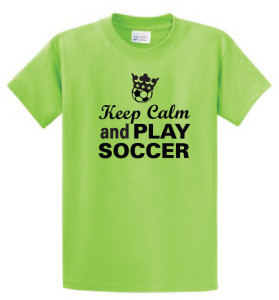 Keep Calm and Play Soccer tee lime