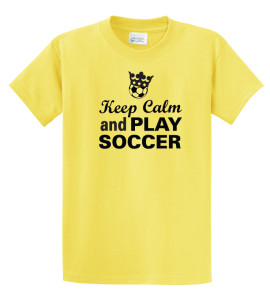 Keep Calm and play soccer tee in yellow