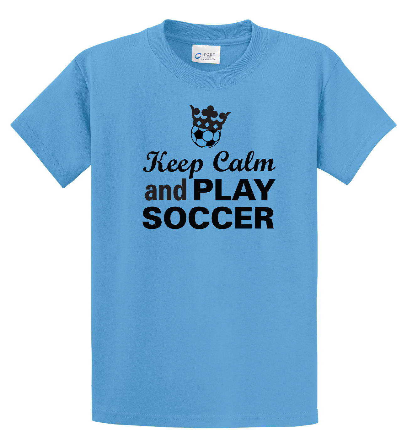Keep Calm and Play soccer tee in aqua