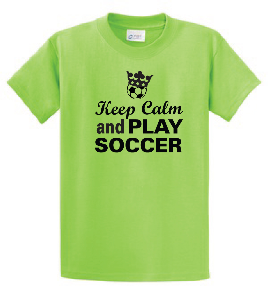 Keep Calm and Play Soccer Tshirt in lime by Code Four Athletics
