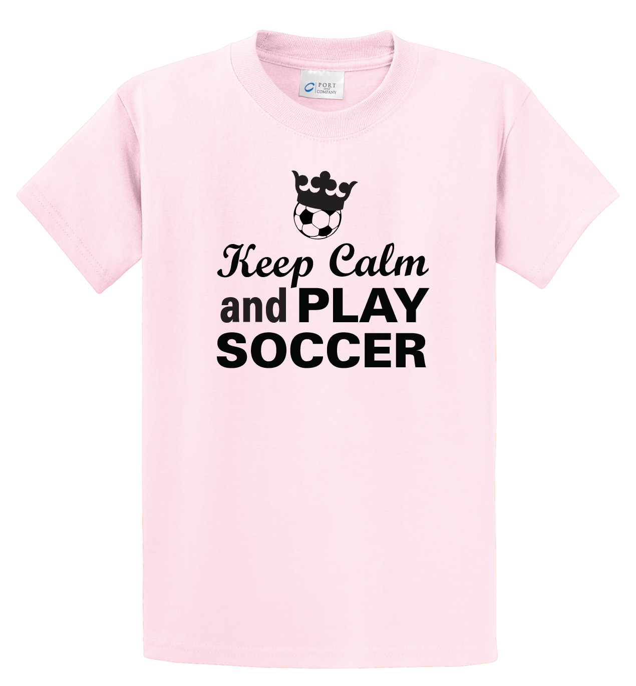 Keep Calm and Play soccer tee in pink