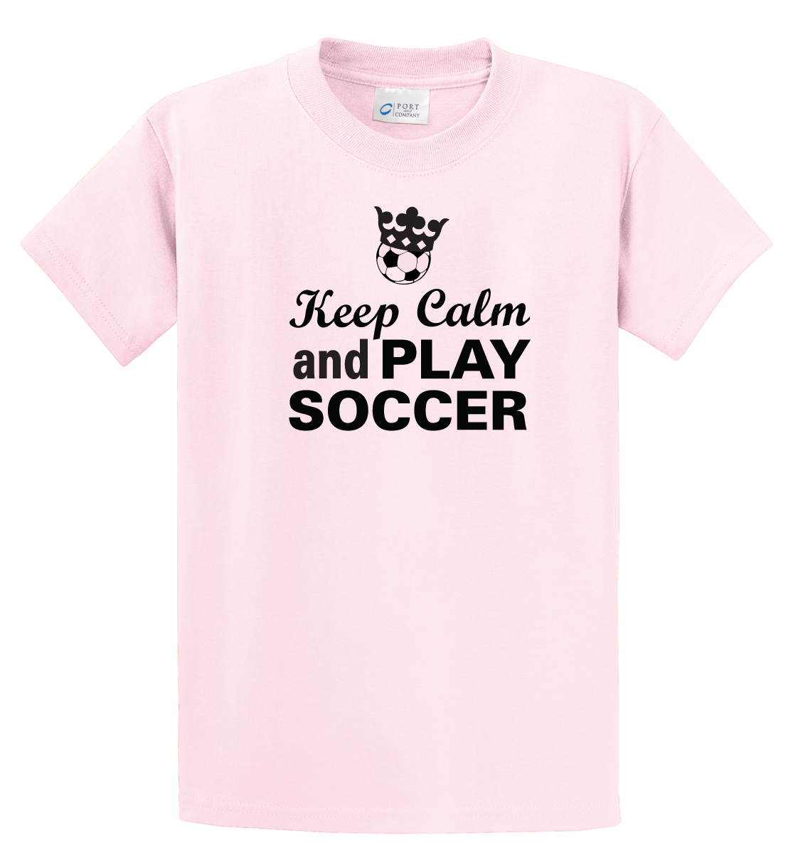 Keep Calm and Play Soccer Tshirt in pink by Code Four Athletics