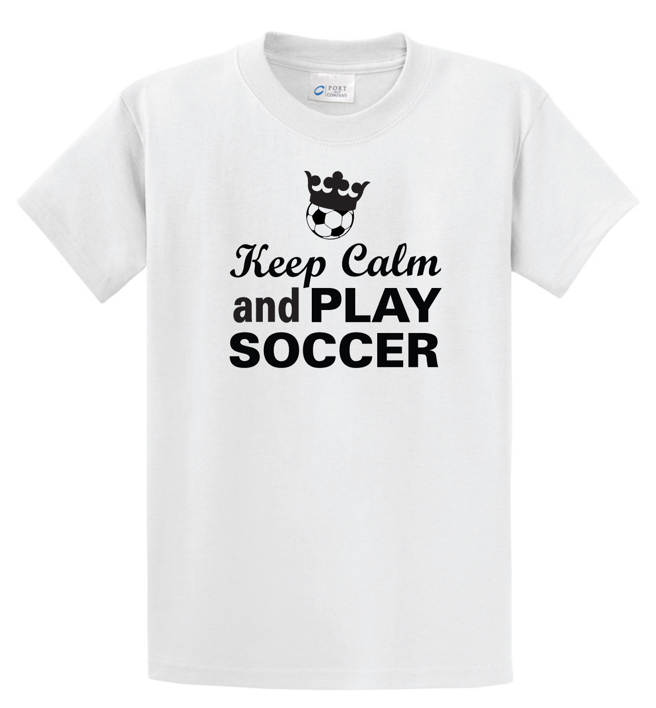 Keep Calm and Play soccer tee in white