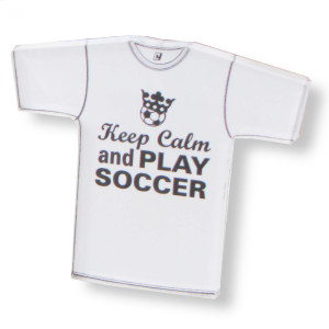 Keep Calm and Play Soccer tee magnet