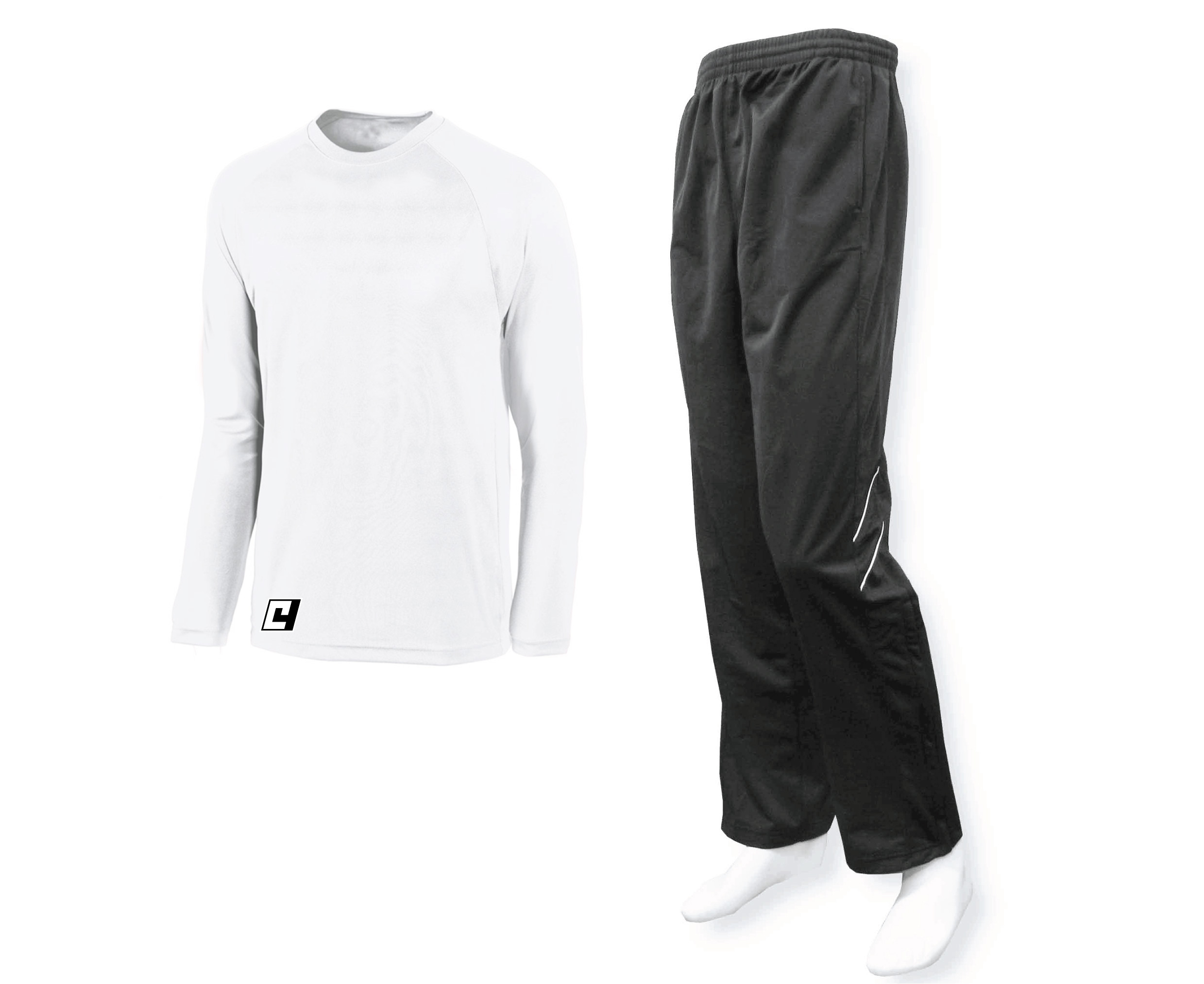 long sleeve basketball shooting shirt in white with black track pants
