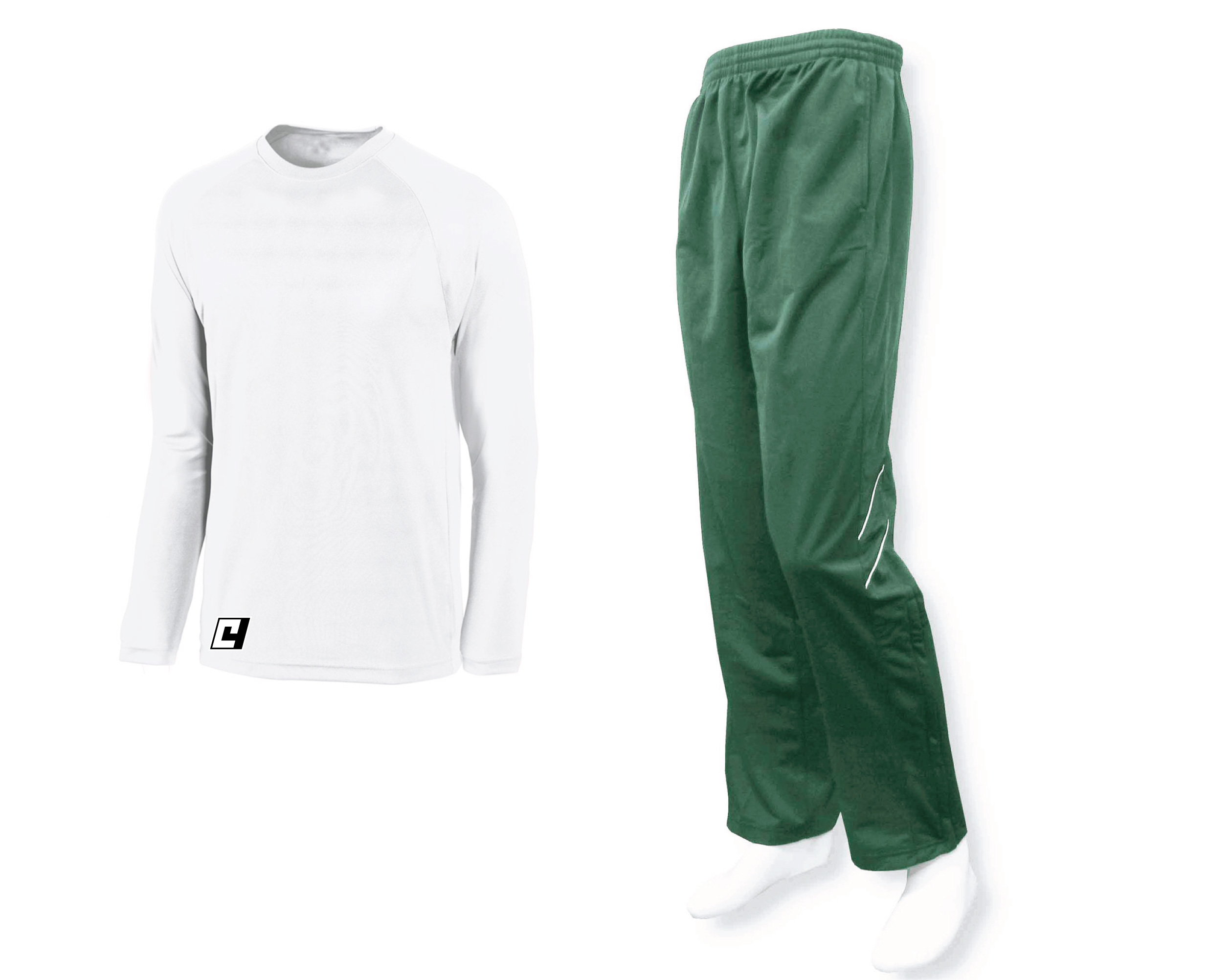 long sleeve basketball shooting shirt in white with forest track pants by Code Foru Athletics
