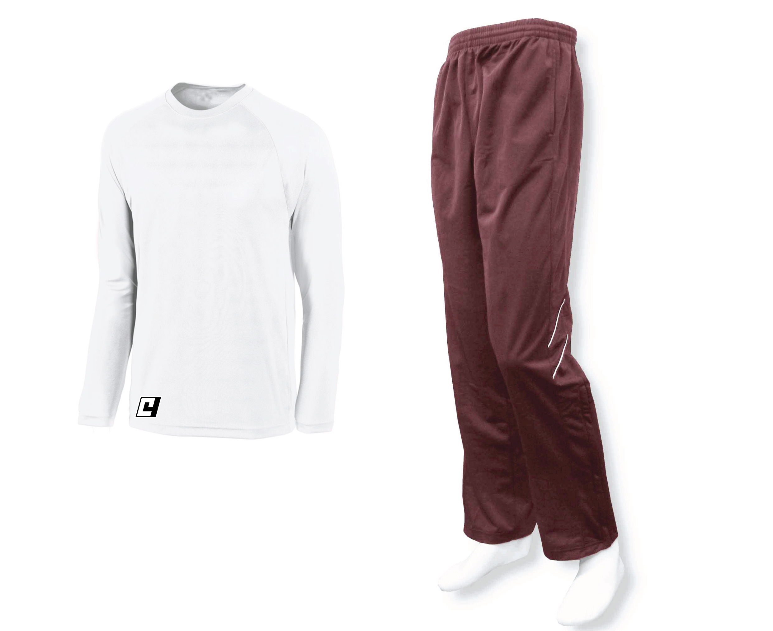 long sleeve basketball shooting shirt in white with maroon track pants