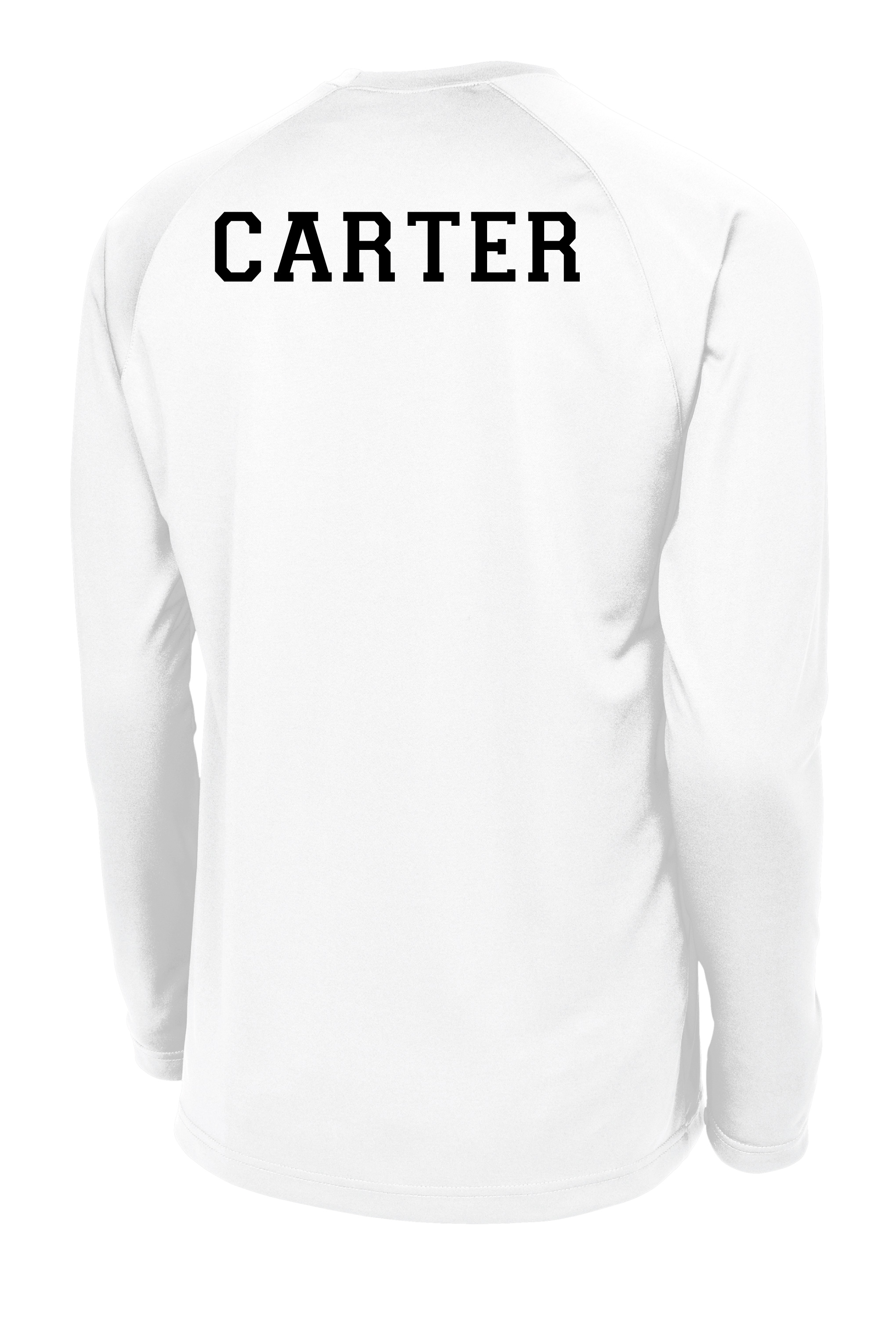 C4 long sleeve basketball shooting shirt with name on back in white by Code Four Athletics