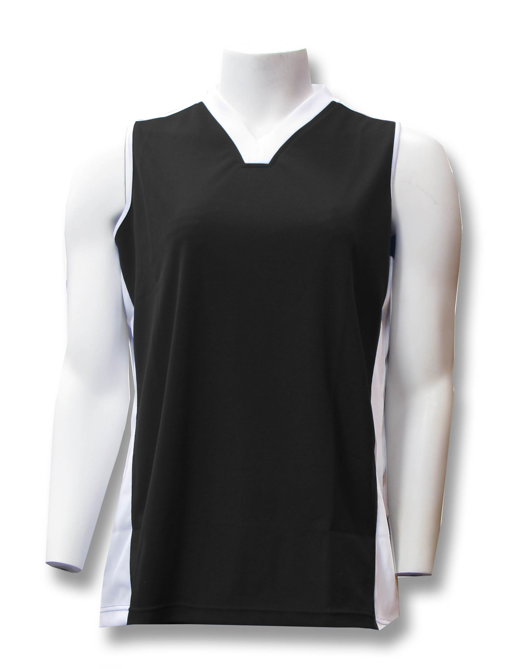 Milo women's sleeveless soccer jersey in black by Code Four Athletics