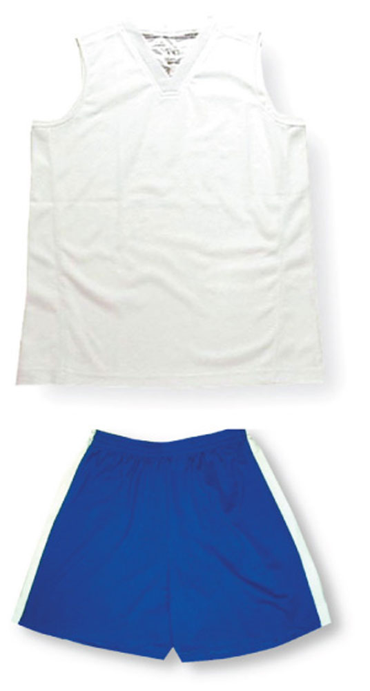 Women's sleeveless soccer uniform kit with white jersey by Code Four Athletics