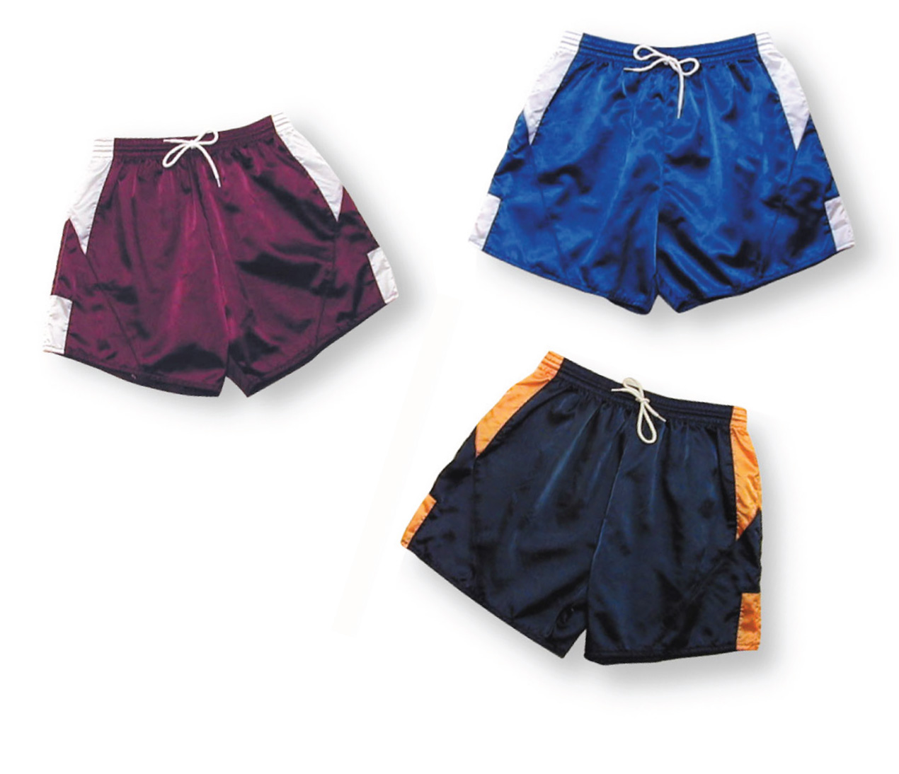 nylon satin soccer shorts 3 pack by Code Four Athletics
