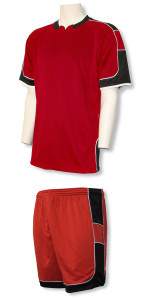Vittoria soccer uniform kit in red/black by Code Four Athletics