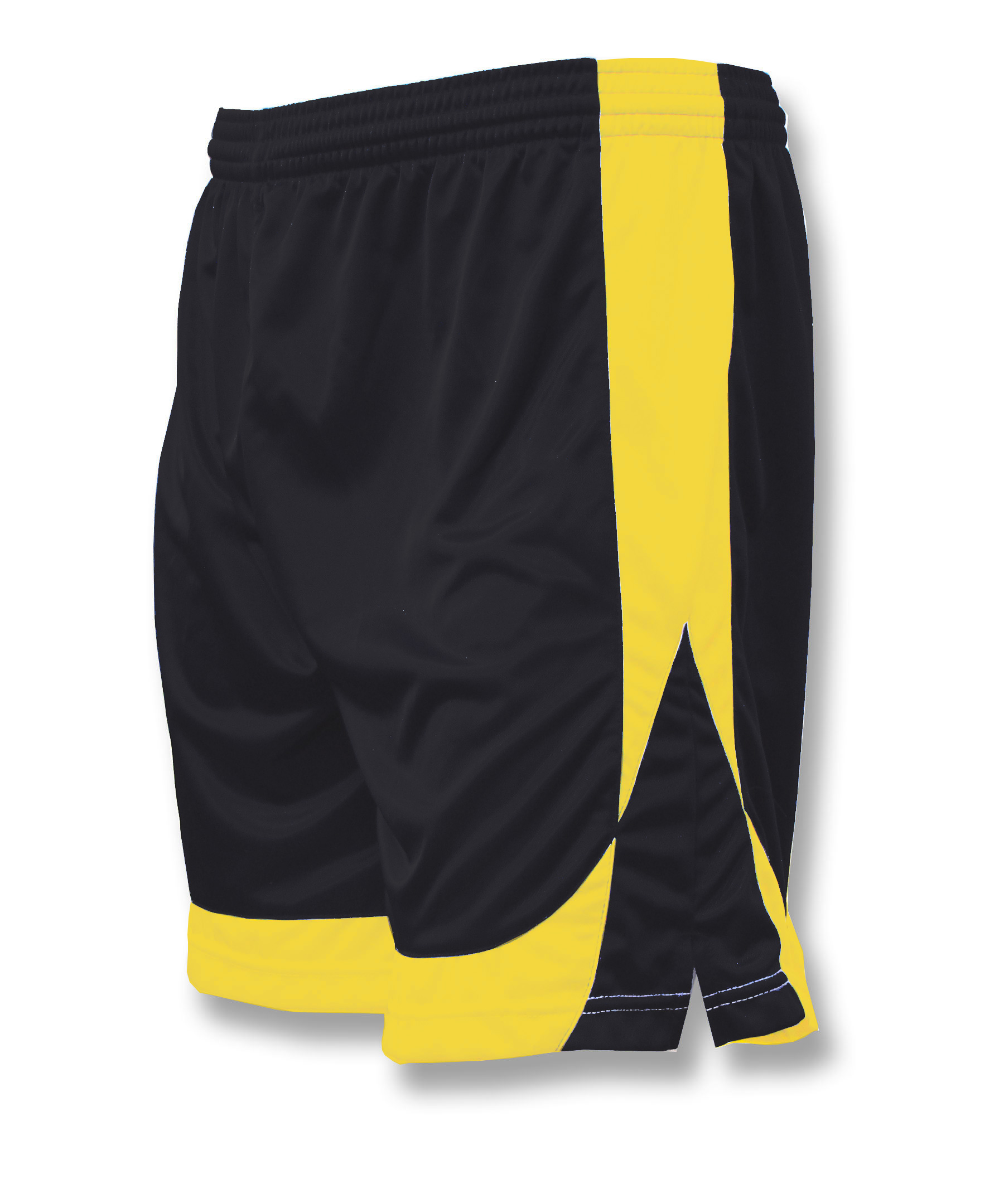 Omega soccer shorts in black/gold by Code Four Athletics