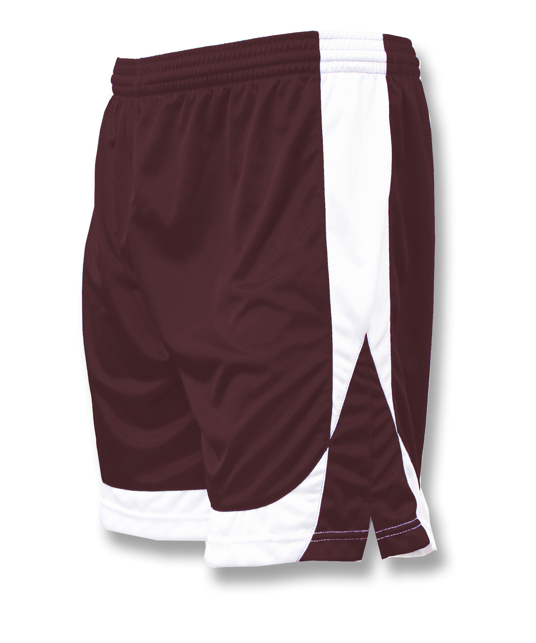Omega soccer shorts in maroon/white by Code Four Athletics