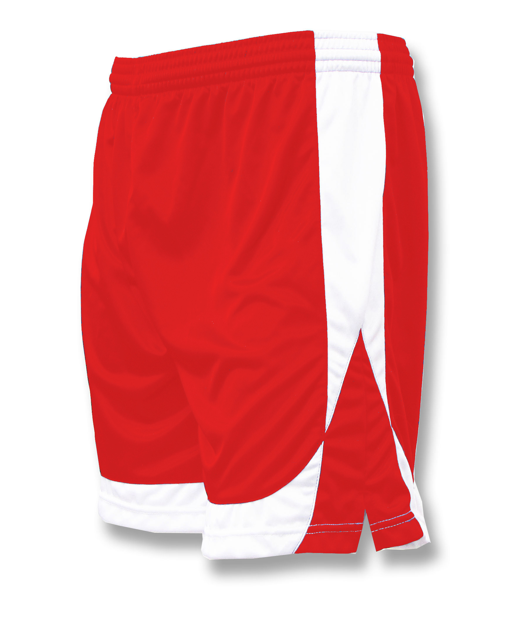 Omega soccer shorts in red/white by Code Four Athletics