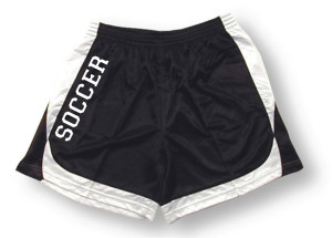 Spirit wear soccer shorts in black/white by Code Four Athletics