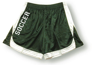Spirit wear soccer shorts in forest/white by Code Four Athletics