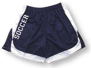 Spirit wear soccer shorts in navy/white by Code Four Athletics