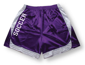 Spirit wear soccer shorts in purple/white by Code Four Athletics