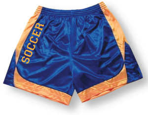 Spirit wear soccer shorts by Code Four Athletics in royal/gold