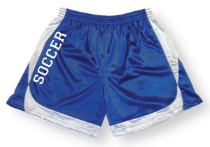 Spirit wear soccer shorts in royal/white by Code Four Athletics