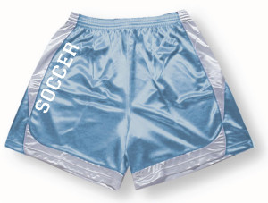 Spirit wear soccer shorts in sky/white by Code Four Athletics