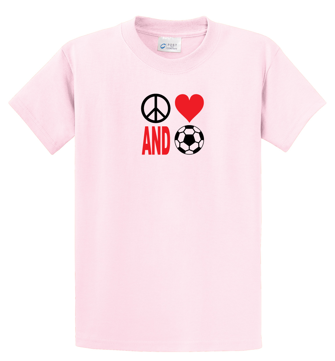 Peace Love and Soccer T-shirt in pale pink by Code Four Athletics