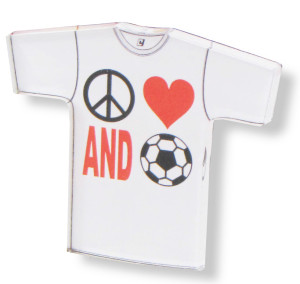 Peace Love and Soccer tee magnet by Code Four Athletics